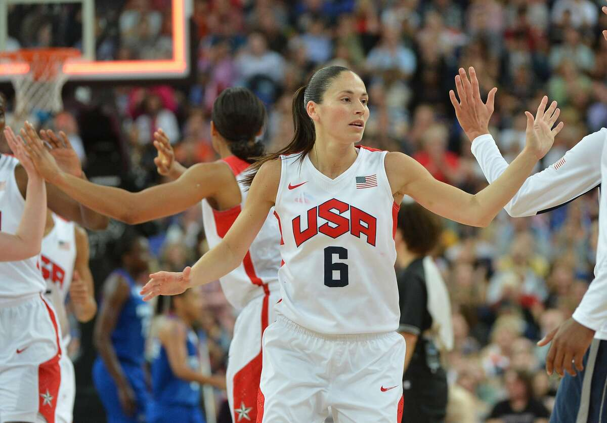 US guard Sue Bird is pictured during the London 2012 Olympic Games women's gold medal basketball game between the USA and France at the North Greenwich Arena in London on August 11, 2012. AFP PHOTO /MARK RALSTONMARK RALSTON/AFP/GettyImages