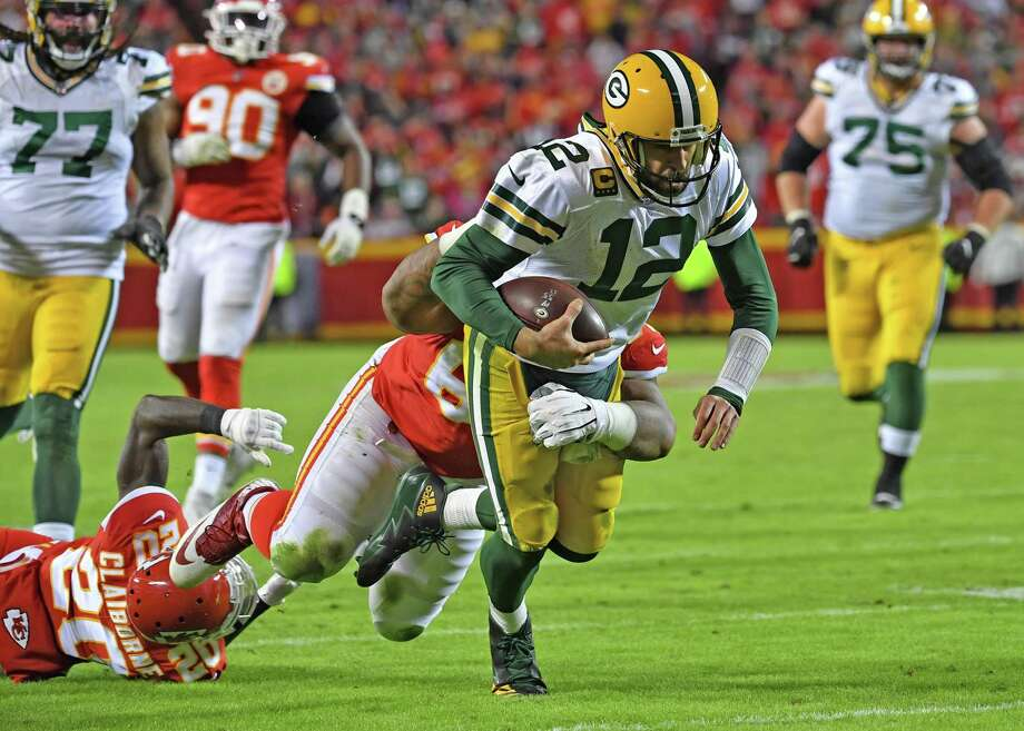 KANSAS CITY, MO - OCTOBER 27: Quarterback Aaron Rodgers #12 of the Green Bay Packers gets tackled short of the goal line against the Kansas City Chiefs during the second half at Arrowhead Stadium on October 27, 2019 in Kansas City, Missouri. (Photo by Peter Aiken/Getty Images) ***BESTPIX*** Photo: Peter Aiken / Getty Images / 2019 Getty Images