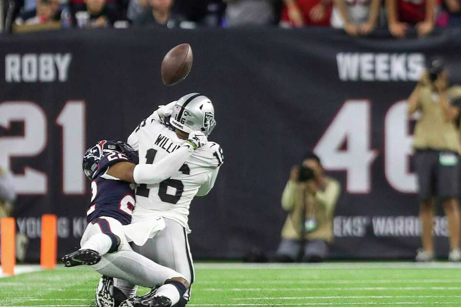 New Texan Gareon Conley breaks up a pass to Tyrell Williams in the fourth quarter on Sunday in Houston's win over the Raiders, Conley's former team.