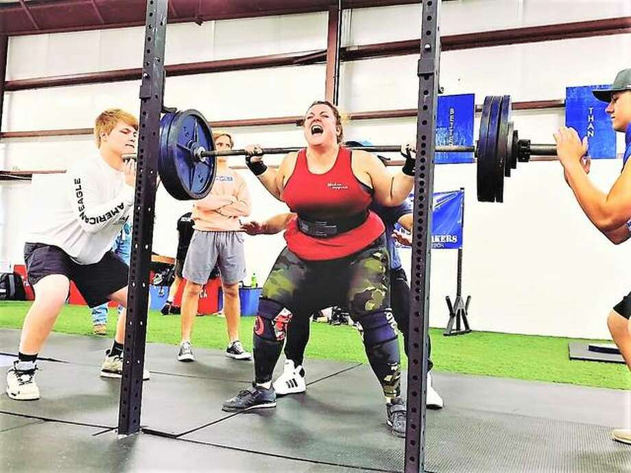 Renae Jones, a tech expert for the Jersey School District, also is a powerlifter who hosts a Sunday morning weightlifting program at Jerseyville Crunch. On Oct. 5, Jones achieved personal bests of 340 lbs. in the squat lift and 350 lbs. in the dead lift.