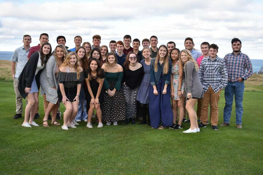 Senior class members at Onekama High School recently completed an etiquette course taught by former teacher, principal and superintendent Beth McCarthy. The group capped off the course by having dinner at the Arcadia Bluffs Golf Course. Photo: Courtesy Photo