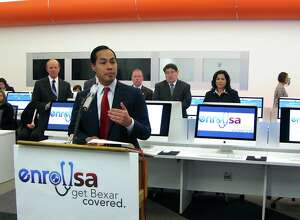 Julian Castro, who was then San Antonio mayor, joined County Judge Nelson Wolff, hospital executives and other officials in 2014 to urge Bexar County residents to sign up for health insurance under the Affordable Care Act. The event was held at BiblioTech, the county's all-digital public library, where assistance is available for ACA signup. A public-private coalition called EnrollSA staged a signup event as the group hoped to register 20,000 individuals.