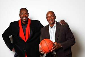 Hakeem Olajuwon (left) and Clyde Drexler at Hofheinz Pavilion, Thursday, Jan. 13, 2011, in Houston.