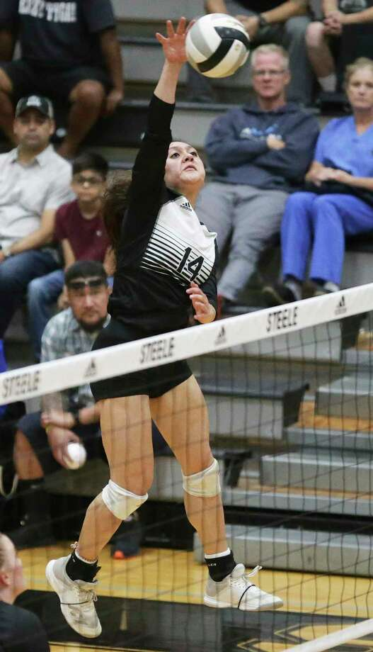 The Knights' Malia Viernes hits a shot as Steele hosts Smithson Valley in 26-6A volleyball at the Steele High School gym on 22, 2019. Photo: Tom Reel /Staff Photographer / 2019 SAN ANTONIO EXPRESS-NEWS