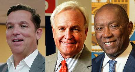 Mayor Sylvester Turner, right, is running for a second four-year term in November and is up against 11 challengers, including Tony Buzbee, left, and Bill King.
