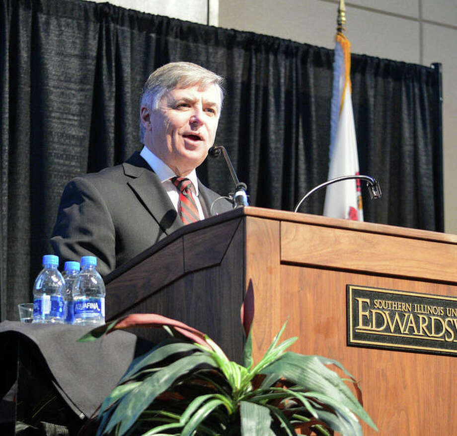 SIUE Chancellor Randy Pembrook talks during Monday's State of the University Address at the Meridian Ballroom in the Morris University Center. Photo: Scott Marion | The Intelligencer