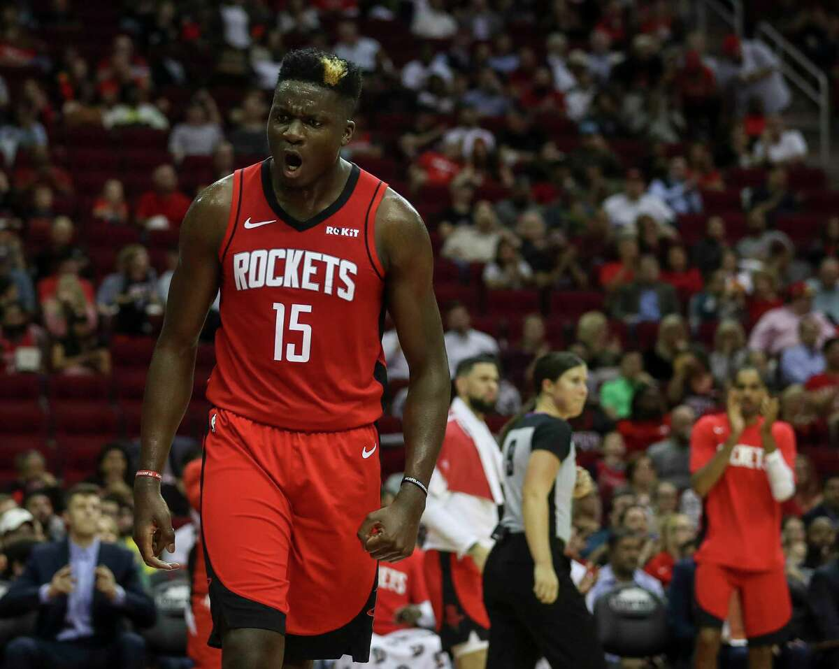 Houston Rockets center Clint Capela (15) reacts after getting fouled during the second quarter of an NBA basketball game at the Toyota Center on Monday, Oct. 28, 2019, in Houston.