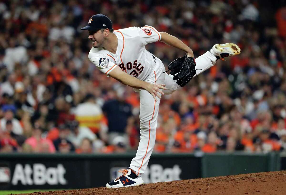 Justin Verlanderof the Houston Astros announced on Instagram that he and his wife Kate Upton would donate a full paycheck each week to an organization working to help those affected by coronavirus. (Photo by Elsa/Getty Images)