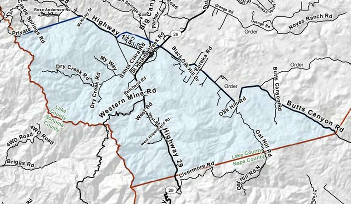Detail map of Cal Fire's Zone 31 evacuation warning boundaries.