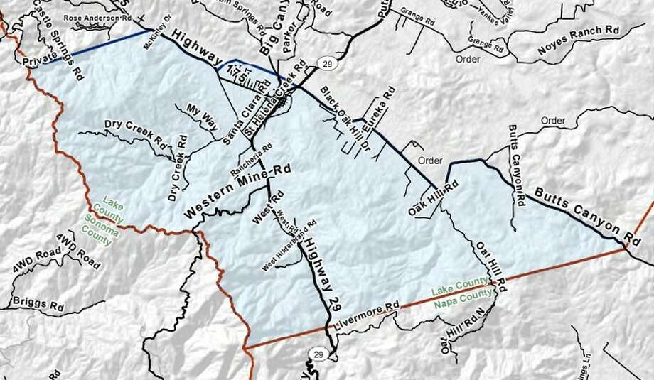 Detail map of Cal Fire's Zone 31 evacuation warning boundaries. Photo: Cal Fire