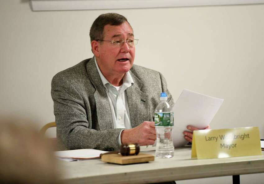 Ballston Spa mayor Larry Woolbright conducts a public village meeting at Ballston Spa Library on Monday, Oct. 28, 2019 in Ballston Spa, N.Y. (Lori Van Buren/Times Union)