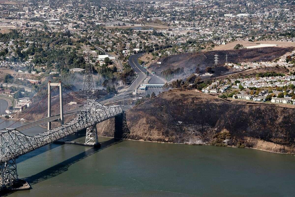 Fire near the Carquinez Bridge in Vallejo, California, on Sunday, Oct. 27, 2019.