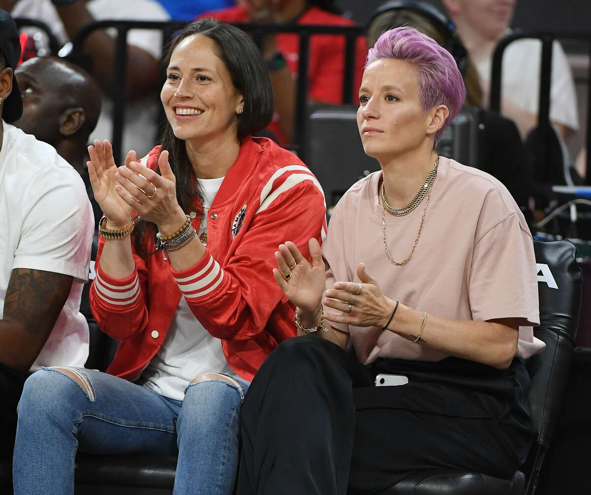 LAS VEGAS, NEVADA - JULY 27: Sue Bird (L) of the Seattle Storm and soccer player Megan Rapinoe attend the WNBA All-Star Game 2019 at the Mandalay Bay Events Center on July 27, 2019 in Las Vegas, Nevada. NOTE TO USER: User expressly acknowledges and agree