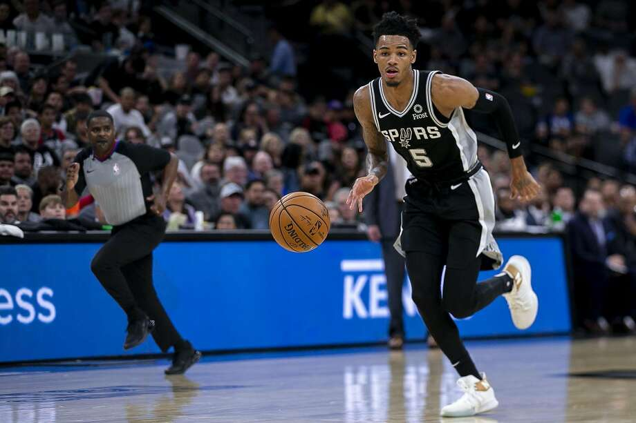 San Antonio Spurs' Dejounte Murray drives the ball down the court as the Spurs host the Portland Trail Blazers at AT&T Center San Antonio, Texas, on Oct. 28, 2019. Photo: Josie Norris, The San Antonio Express-News