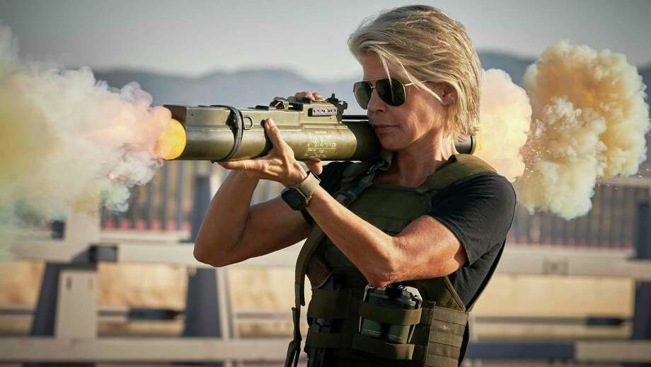 """This image released by Paramount Pictures shows Linda Hamilton in """"Terminator: Dark Fate."""" (Kerry Brown/Paramount Pictures via AP) Photo: Kerry Brown, HONS / Associated Press / PHOTOGRAPHS TO BE USED SOLELY FOR ADVERTISING, PROMOTION, PUBLICITY OR REVIEWS OF THIS SPECIFIC MOTION PICTURE AND TO REMAIN THE"""