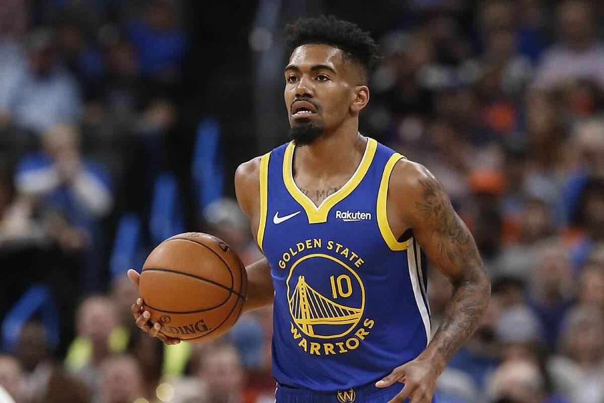 Golden State Warriors guard Jacob Evans (10) in the first half of an NBA basketball game Sunday, Oct. 27, 2019 in Oklahoma City. (AP Photo/Sue Ogrocki)