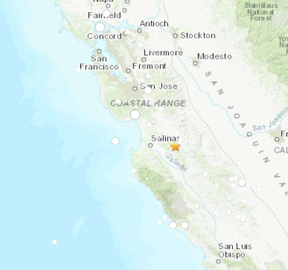 A magnitude 3.5 earthquake shook the area near Pinnacles, California in the early morning on October 29, 2019.