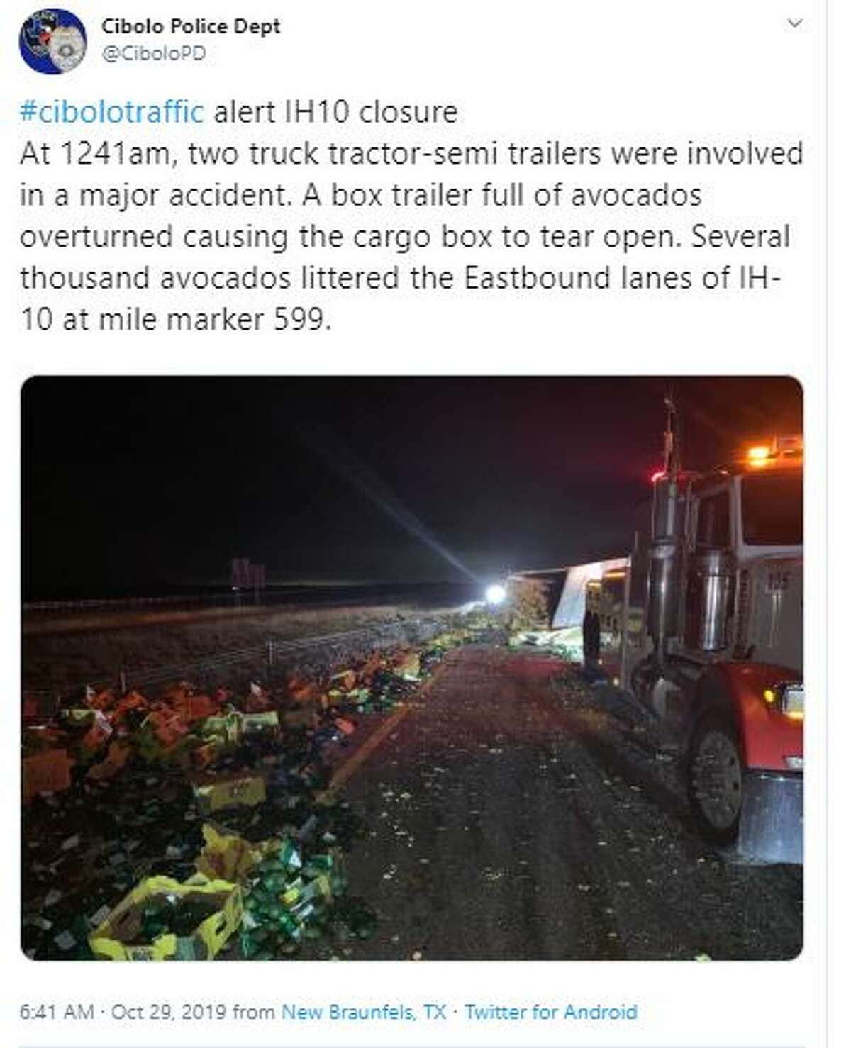 A portion of eastbound Interstate 10 was shut down after a big rig crashed and spilled 40,000 pounds of avocados on the road Tuesday, Oct. 29.