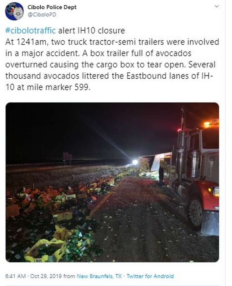 A portion of eastbound Interstate 10 was shut down after a big rig crashed and spilled 40,000 pounds of avocados on the road Tuesday, Oct. 29. Photo: Cibolo Police Department Twitter