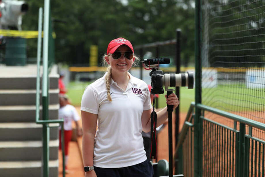 EHS grad Devin Kane is pictured while interning for USA softball.