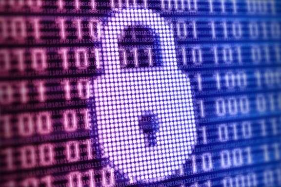 Padlock digital security background.