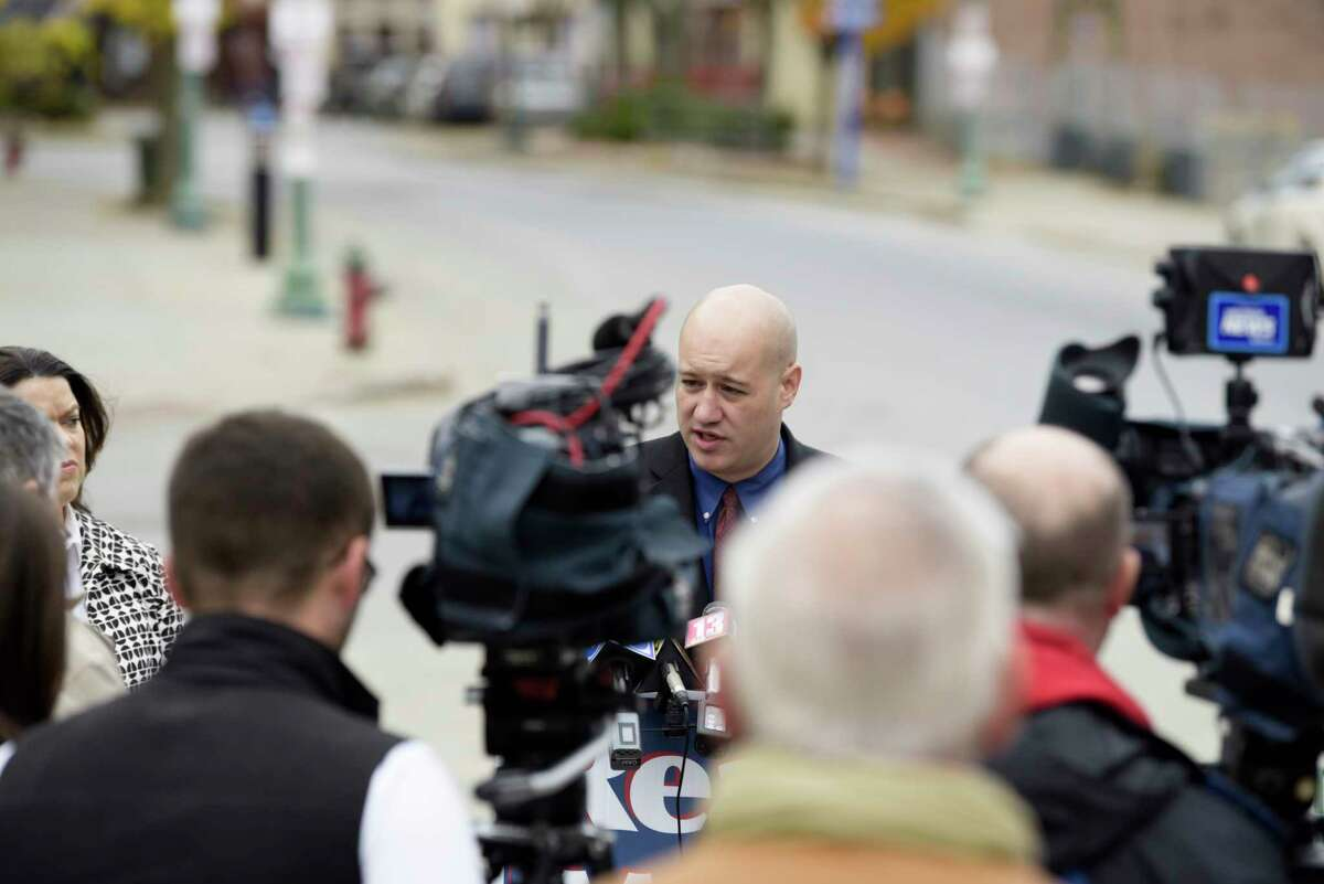 Tom Reale speaks at a press conference on Tuesday, Oct. 29, 2019, in Troy, N.Y. Reale announced that he is returning to the Troy mayor's race as the Republican candidate. (Paul Buckowski/Times Union)