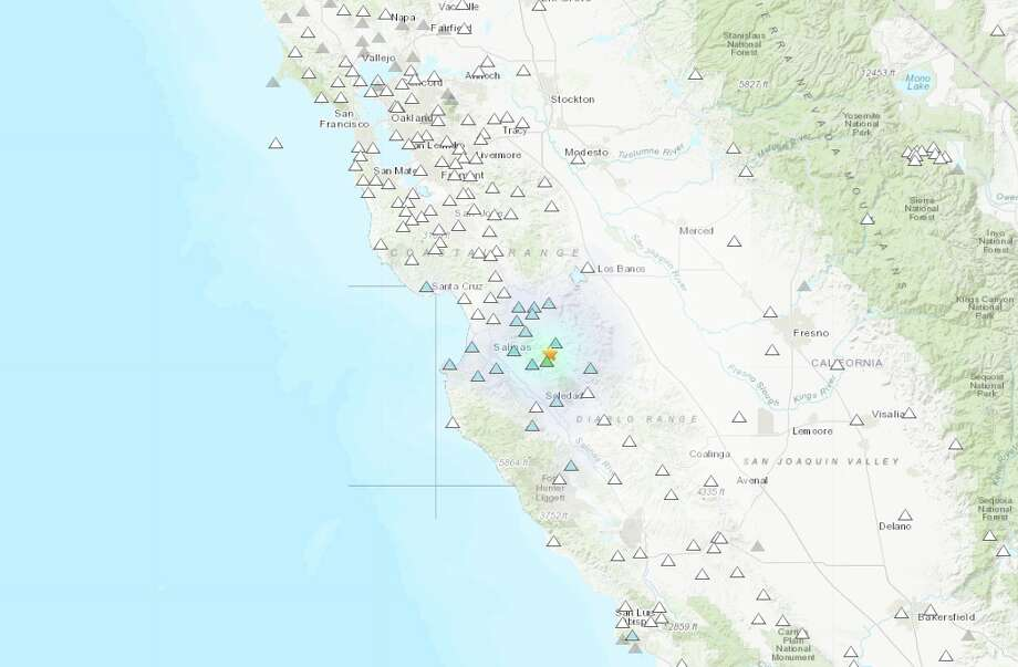 A shake map of the magnitude 3.9 earthquake that shook the area near Pinnacles, California in the morning on October 29, 2019. Photo: USGS