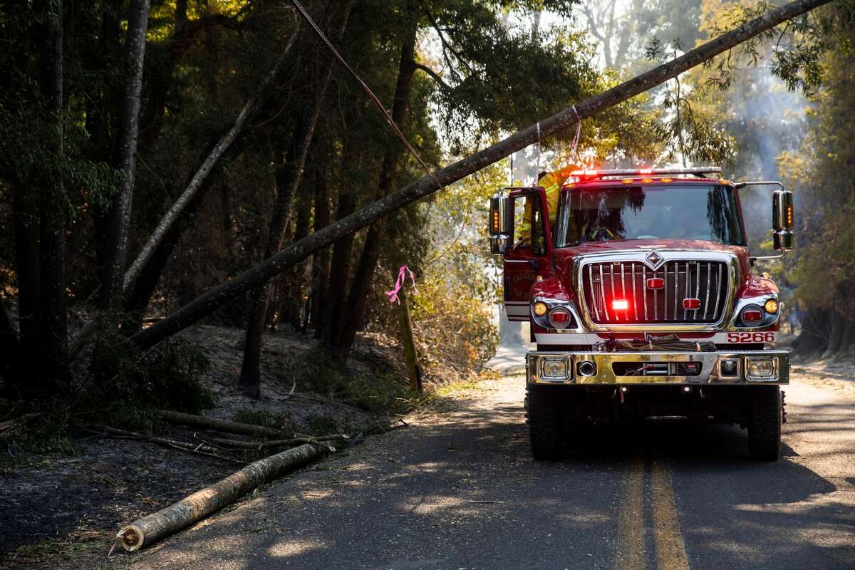 Firefighters check on, and flag, a downed PG&E power line along Chalk Hill Road in Windsor, California on October 28, 2019. - Chalk Hill Road, which acts as a wind tunnel during heavy wind events, is among one of the most dangerous areas during the Kincade Fire. California's governor declared a state-wide emergency on October 27 as a huge wind-fueled blaze forced evacuations and massive power blackouts, threatening towns in the famed Sonoma wine region.