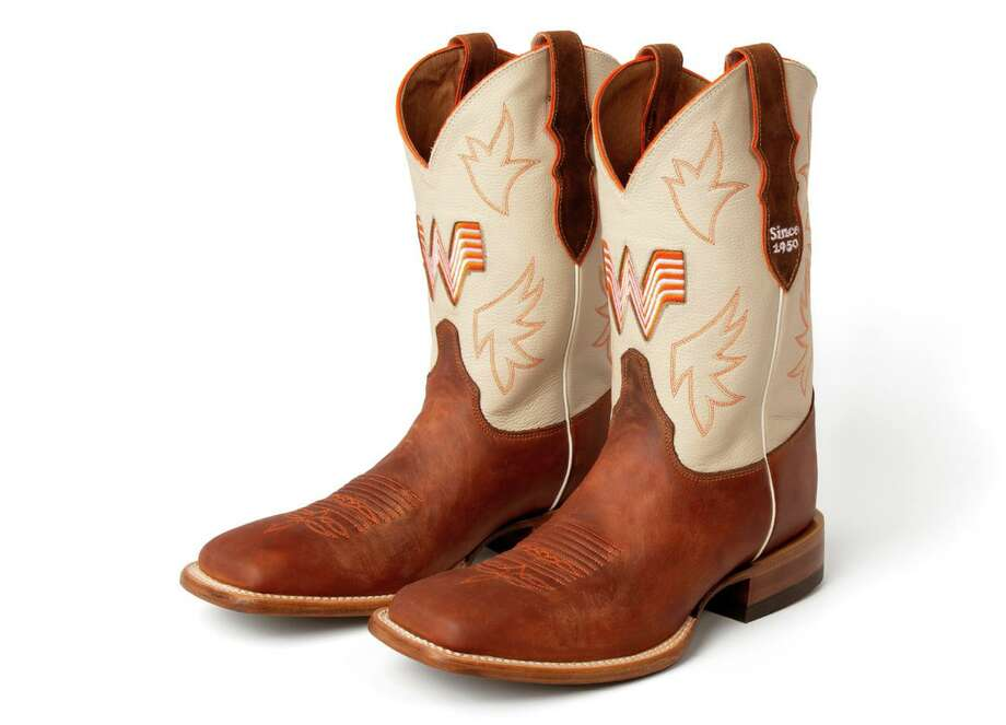 Whataburger and Justin Boots have partnered to release a pair of men's and women's Whataburger-branded boots. Photo: Apron Food PR