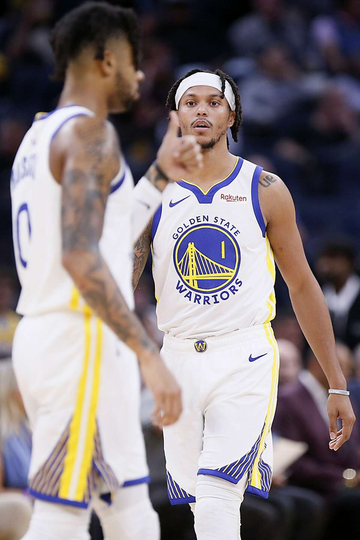 Golden State Warriors guard Damion Lee (1) during an NBA preseason game against the Los Angeles Lakers at Chase Center on Friday, Oct. 18, 2019, in San Francisco, Calif.