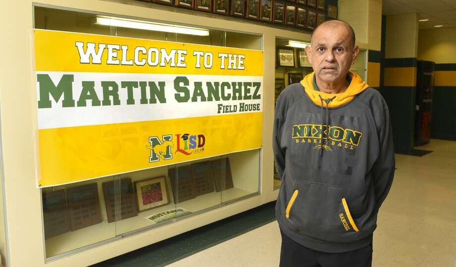 Coach Martin Sanchez poses for a photo at recently dedicated Martin Sanchez Field House, Friday, Oct. 25, 2019, at Nixon High School. Photo: Danny Zaragoza/Laredo Morning Times