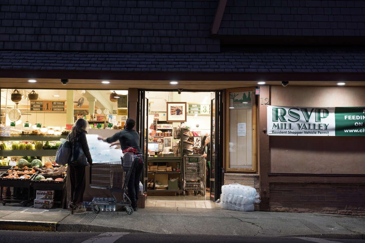 Mill Valley Market, Downtown Mill Valley, opens early to provide service to Mill Valley residents. One of the very limited places to purchase ice.