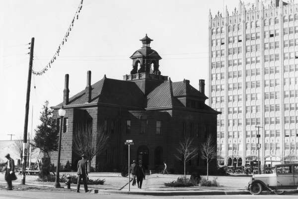 The Midland County Court House and the Petroleum Building as viewed from Wall Street and Loraine in 1929.