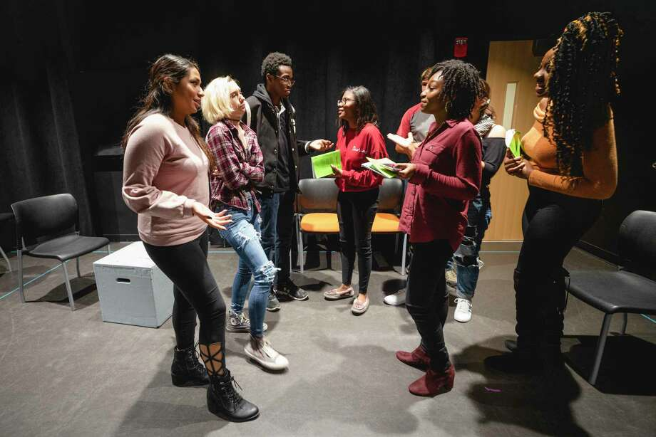 "Quinnipiac University cast members rehearse for the upcoming production of ""Baltimore,"" which is at the Theatre Arts Center November 7-10. Photo: Richard Petrosino / Quinnipiac University / © 2019 Quinnipiac University Richard Petrosino All Rights Reserved"