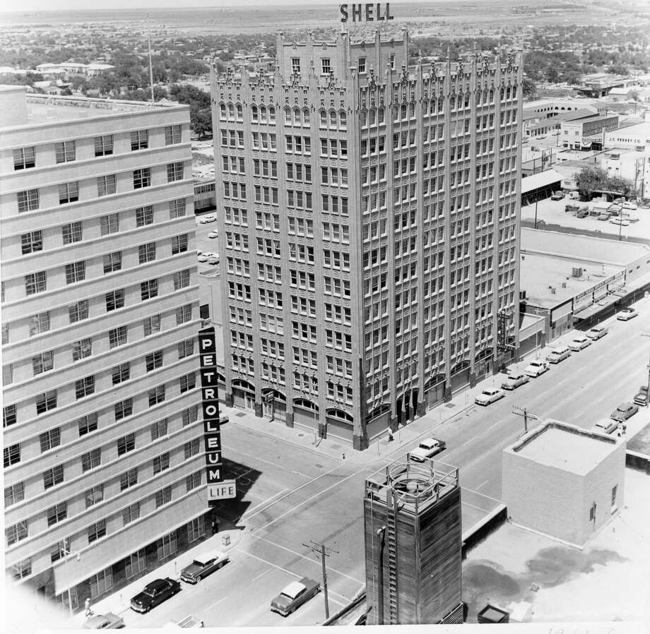 The McClintic-Petroleum Life-Western United Life Building, left, is shown alongside the Petroleum Building in the late 1950s or early 1960s. Photo: Courtesy Of Midland County Historical Society