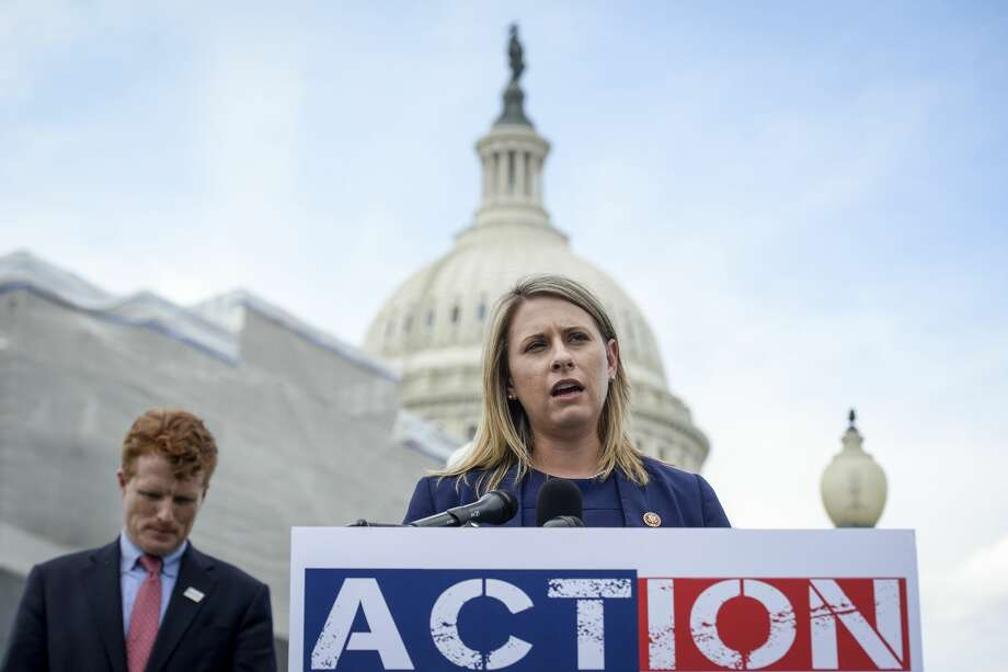 UNITED STATES -  JUNE 25: Rep. Katie Hill, D-Calif., speaks at a press conference to introduce ACTION for National Service outside of the Capitol on Tuesday June 25, 2019. (Photo by Caroline Brehman/CQ Roll Call) Photo: Congressional Quarterly/CQ-Roll Call, Inc Via Getty Imag