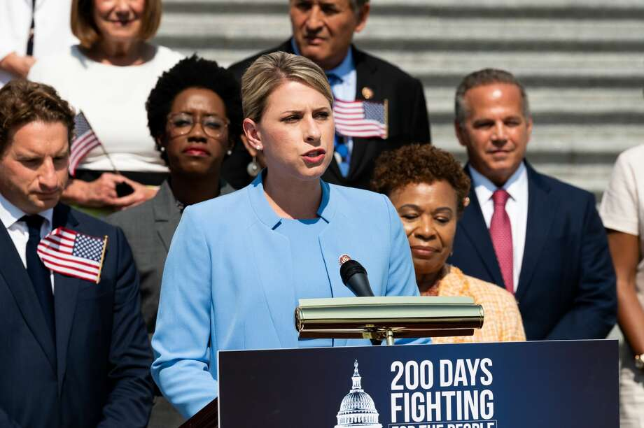 WASHINGTON, DC, UNITED STATES - 2019/07/25: U.S Representative Katie Hill (D-CA) speaking at a press event with House Democrats on the first 200 days of the 116th Congress, on the steps of the Capitol in Washington, DC. (Photo by Michael Brochstein/SOPA Images/LightRocket via Getty Images) Photo: SOPA Images/SOPA Images/LightRocket Via Gett