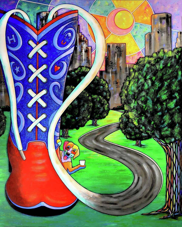 The 2020 Chevron Houston Marathon poster was designed by Houston artist April Murphy.