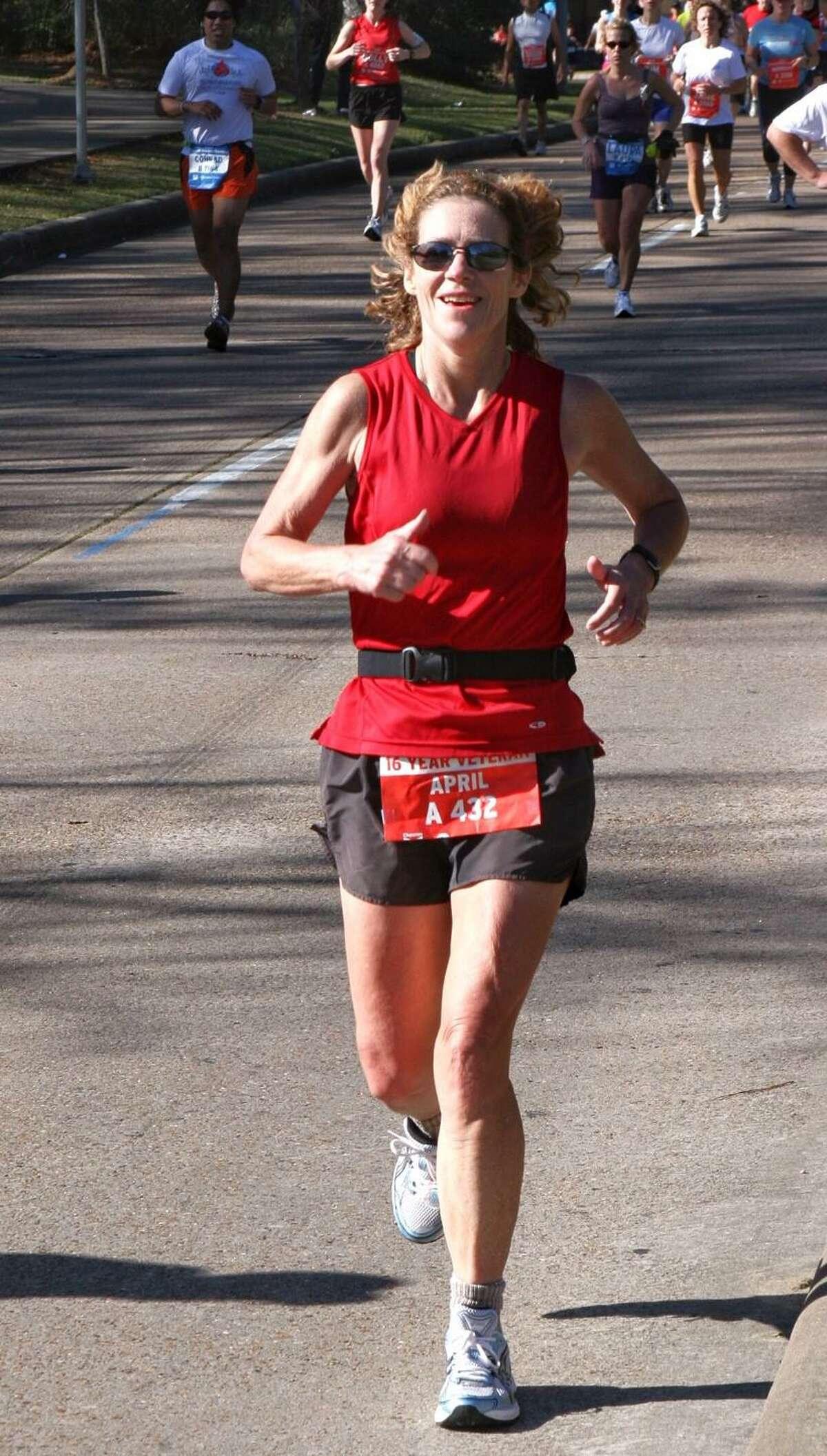 April Murphy, a Houston artist, has run 75 marathons and 20 Houston Marathons. She will return to running Houston after a seven year hiatus in January 2020.