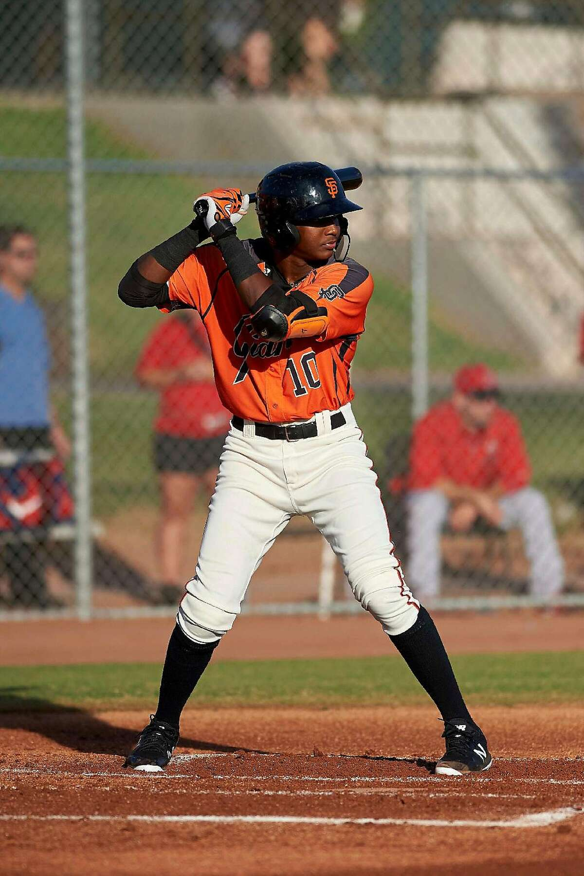 San Francisco Giants prospect Marco Luciano appeared in 38 games in rookie ball in 2019 and collected 10 homers and 38 RBIs and led the league by scoring 46 runs.