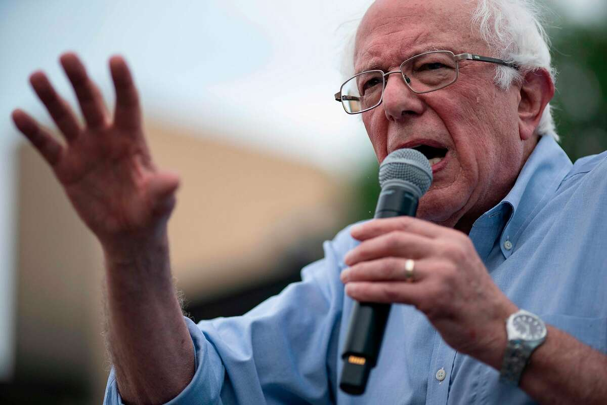 (FILES) In this file photo taken on August 11, 2019 Democratic 2020 presidential candidate Senator Bernie Sanders (I-VT) speaks at the Des Moines Register Political Soapbox during the Iowa State Fair in Des Moines, Iowa. - Senator Bernie Sander's presidential campaign has cancelled all appearances and events until further notice following a procedure for an artery blockage. In a statement on October 2, 2019, the senators advisor Jeff Weaver said Sanders experienced some chest discomfort during an October 1, 2019 event. Testing found a blockage in one artery, and Sanders had two stents inserted, Weaver said. (Photo by ALEX EDELMAN / AFP) (Photo by ALEX EDELMAN/AFP via Getty Images)