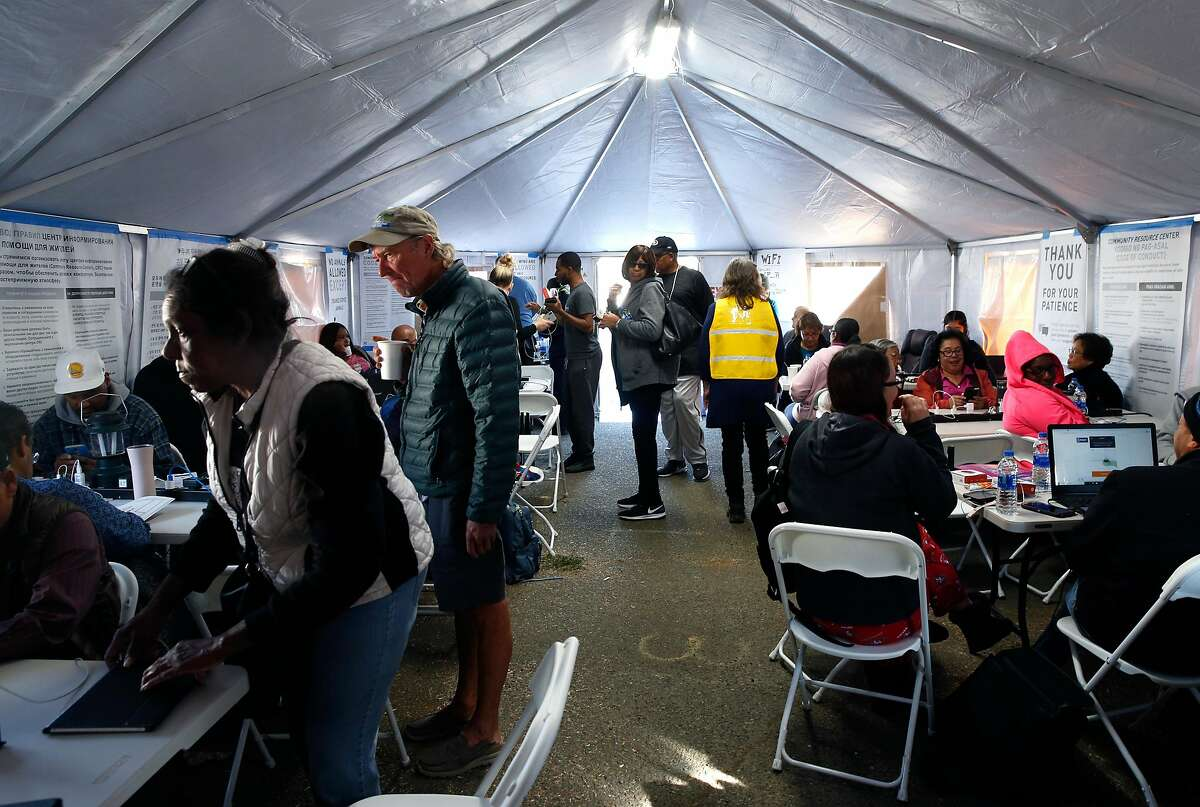 Residents affected by the widespread PG power outages at the utility's community resource center at the Solano County Fairgrounds on Tuesday, Oct. 29, 2019.