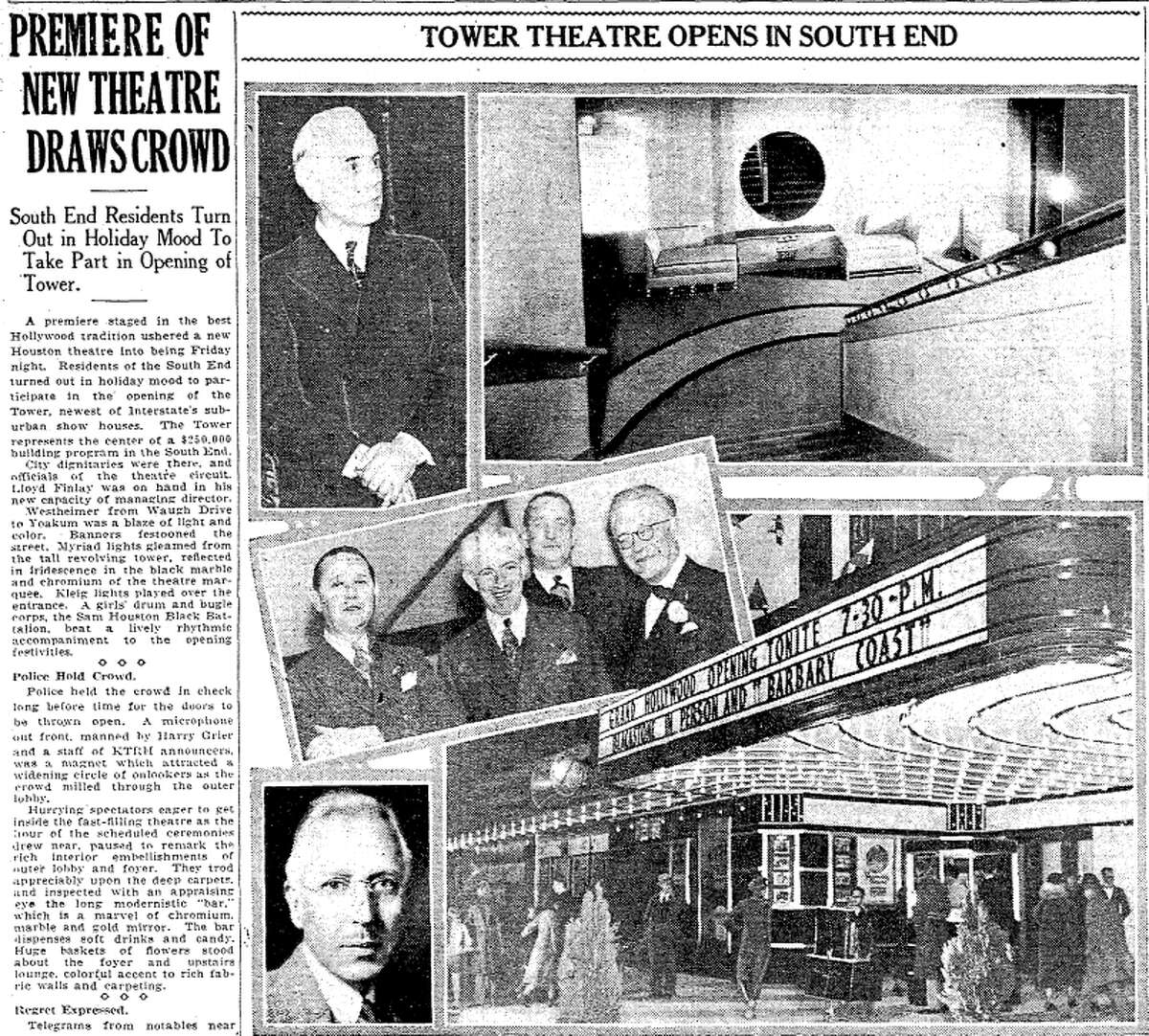 A snippet from the Feb. 15, 1936 edition of the Houston Chronicle, announcing the grand opening of the Tower Theatre.