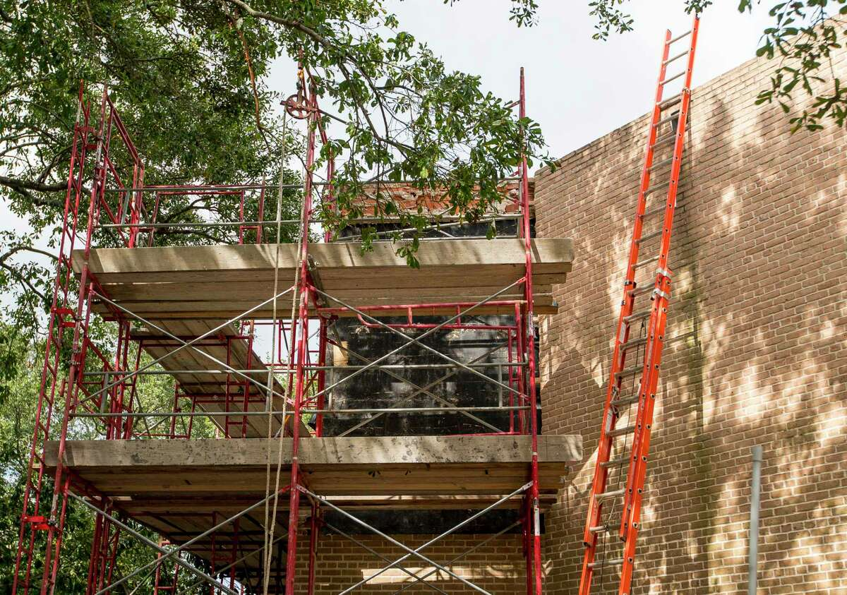 Exterior work continues on the Rothko Chapel, part of an ongoing renovation project happening on the property in Houston, Monday, Oct. 28, 2019.
