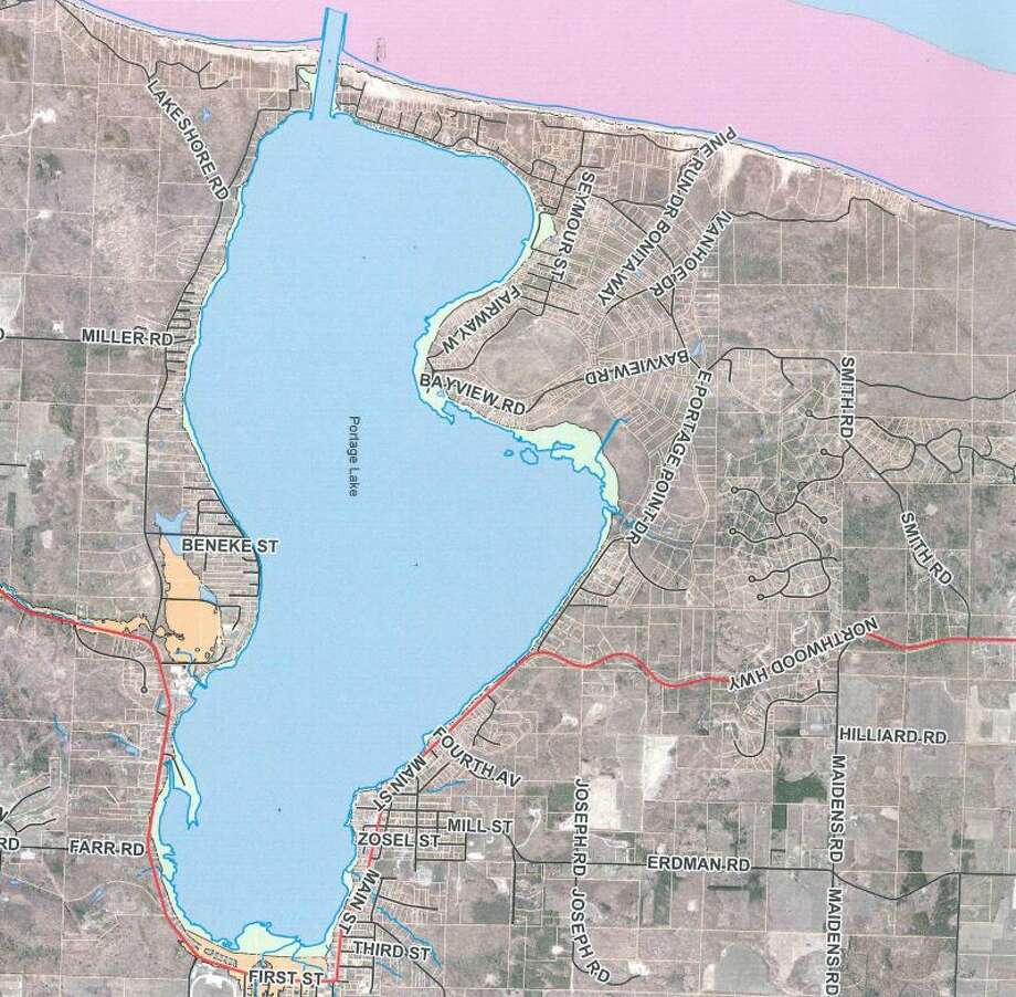 Pictured is a portion of the newly proposed Manistee County flood map, generated by the Federal Emergency Management Agency. (Courtesy Photo) Photo: Courtesy Photo