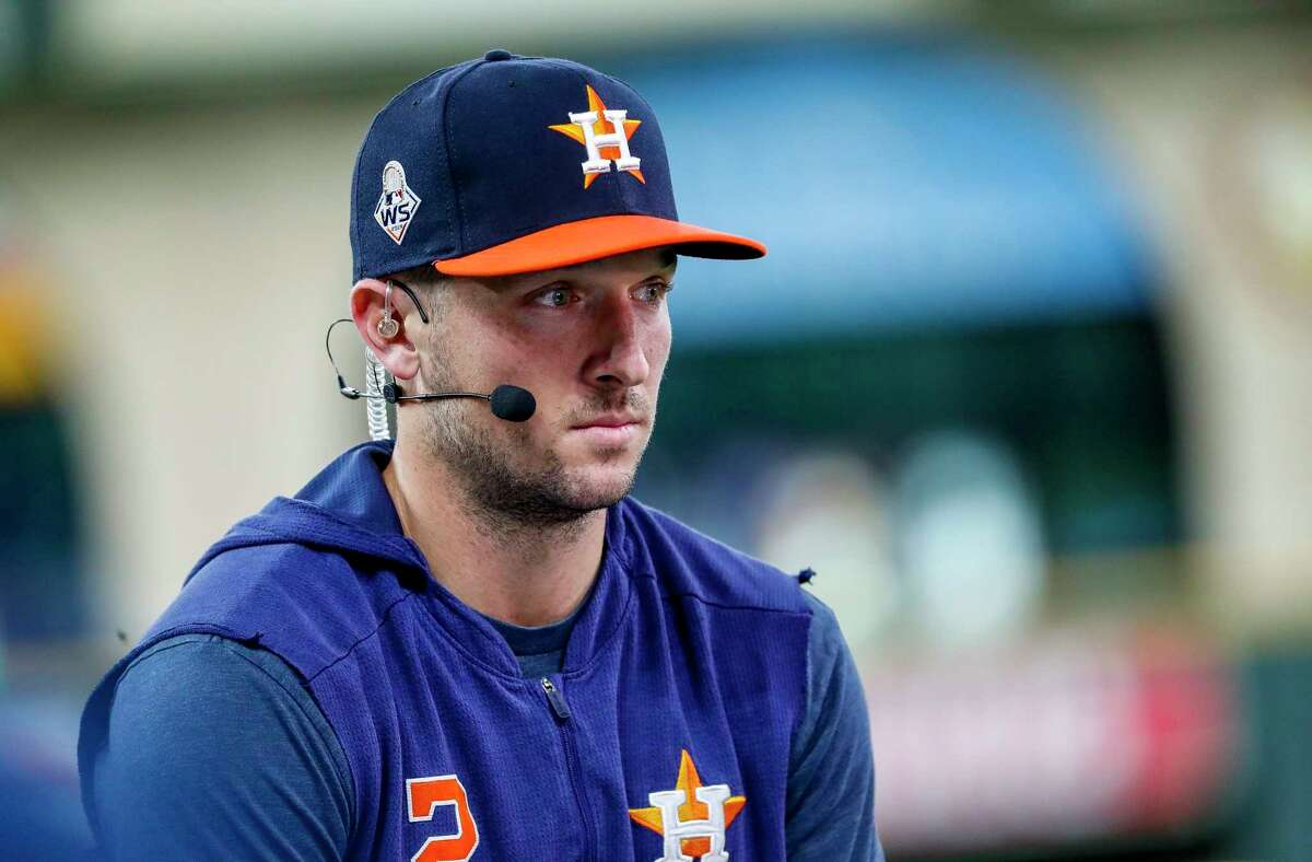Houston Astros third baseman Alex Bregman (2) is interviewed before Game 6 of the World Series at Minute Maid Park on Tuesday, Oct. 29, 2019, in Houston.