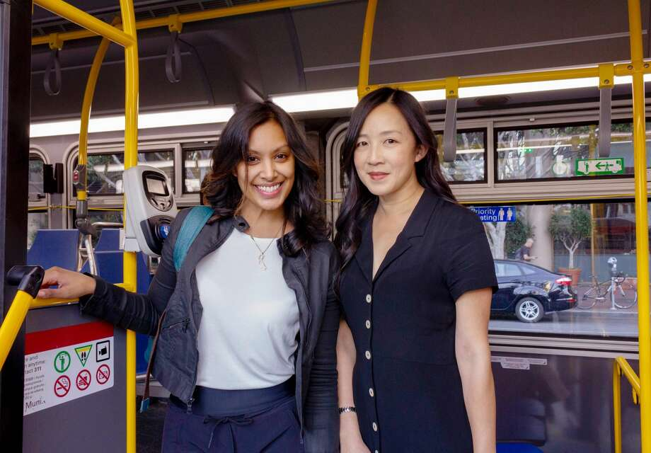 Muni Diaries co-founders Tara Ramroop (left) and Eugenia Chien (right) created their blog about life in San Francisco through the lens of the bus 11 years ago. Now, it's also a podcast and a live show. Photo: Peter B. Clarke