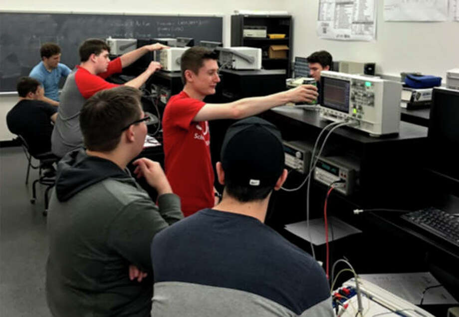 Students compete at the 2019 IEEE Saint Louis Section Black Box competition hosted by SIUE. Photo: For The Intelligencer