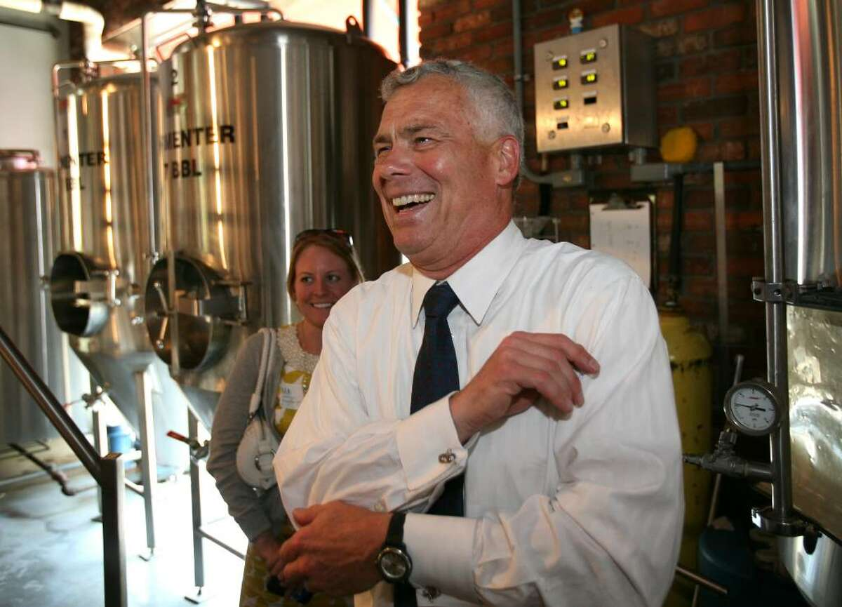 Republican gubenatorial candidate Oz Griebel has a laugh during his visit to the Southport Brewing Company in Fairfield recently.