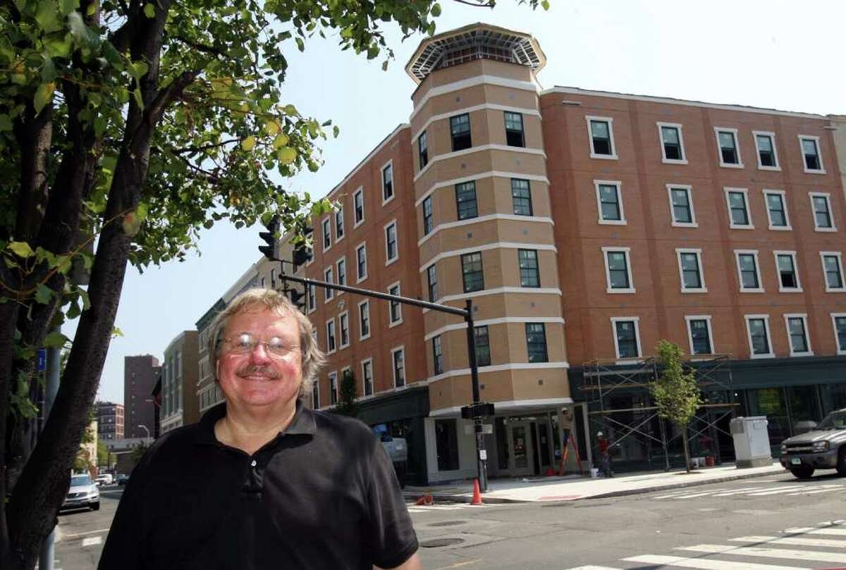 Phil Kuchma, President of Kuchma Corp., stands on the corner of Lafayette Blvd. and Fairfield Ave., in front of his Bijou Square project on August 9, 2010.